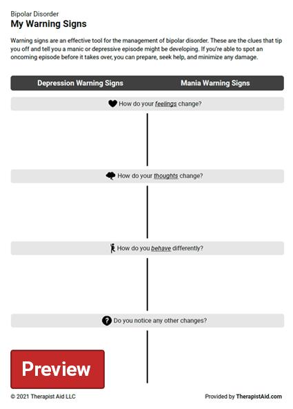 Bipolar Disorder Warning Signs Worksheet