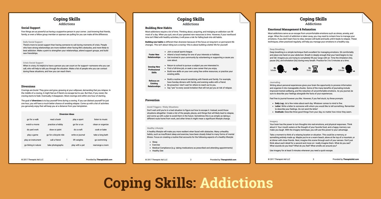 Coping Skills Addictions Worksheet