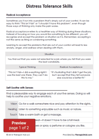 DBT Distress Tolerance Skills (Worksheet)