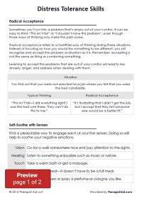 DBT Distress Tolerance Skills (Worksheet) | Therapist Aid
