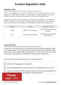 DBT Emotion Regulation Skills (Worksheet) | Therapist Aid