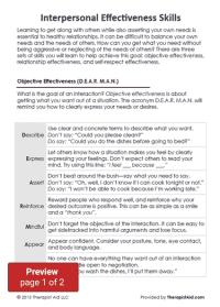 DBT Interpersonal Effectiveness Skills (Worksheet
