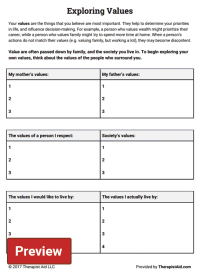Exploring Values (Worksheet) | Therapist Aid