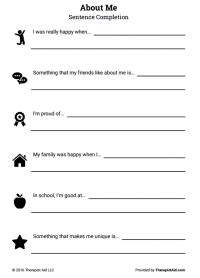 About Me: Self-Esteem Sentence Completion (Worksheet ...