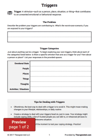 Triggers (Worksheet) | Therapist Aid