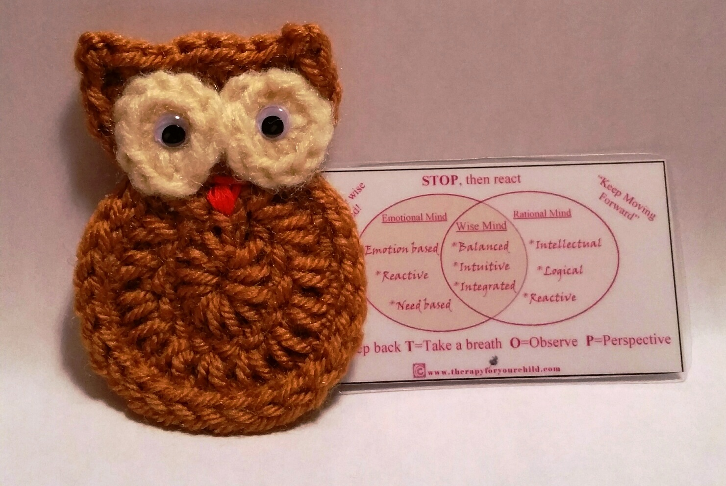 Crochet Owl With Wise Mind Emotional Mind Rational Mind Card