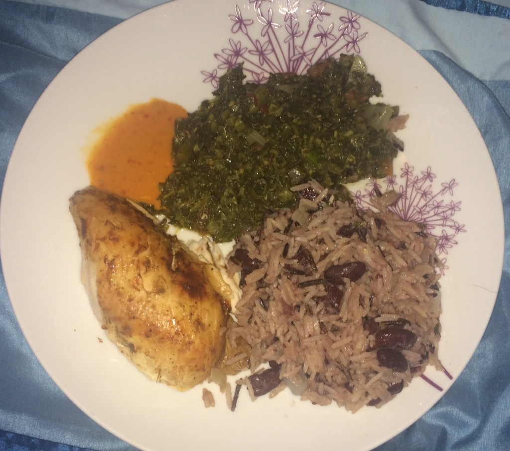 Recipe: Jamaican jerk chicken, rice and peas and callaloo
