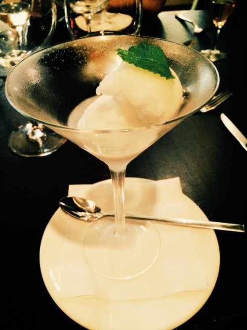 Champagne sorbet served in a cocktail glass