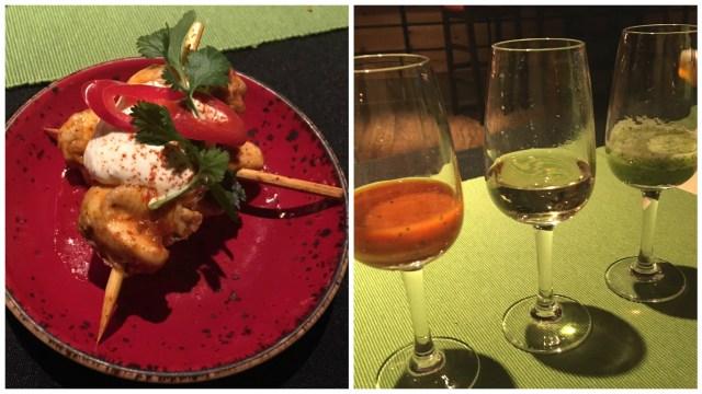 Habanero honey hicken and Tequila con Sangrita cocktails