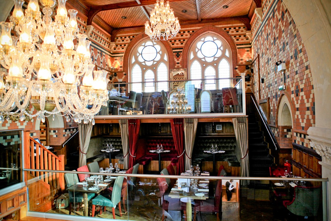 The interior architecture at Chapel 1877 Bar & Restaurant, Cardiff