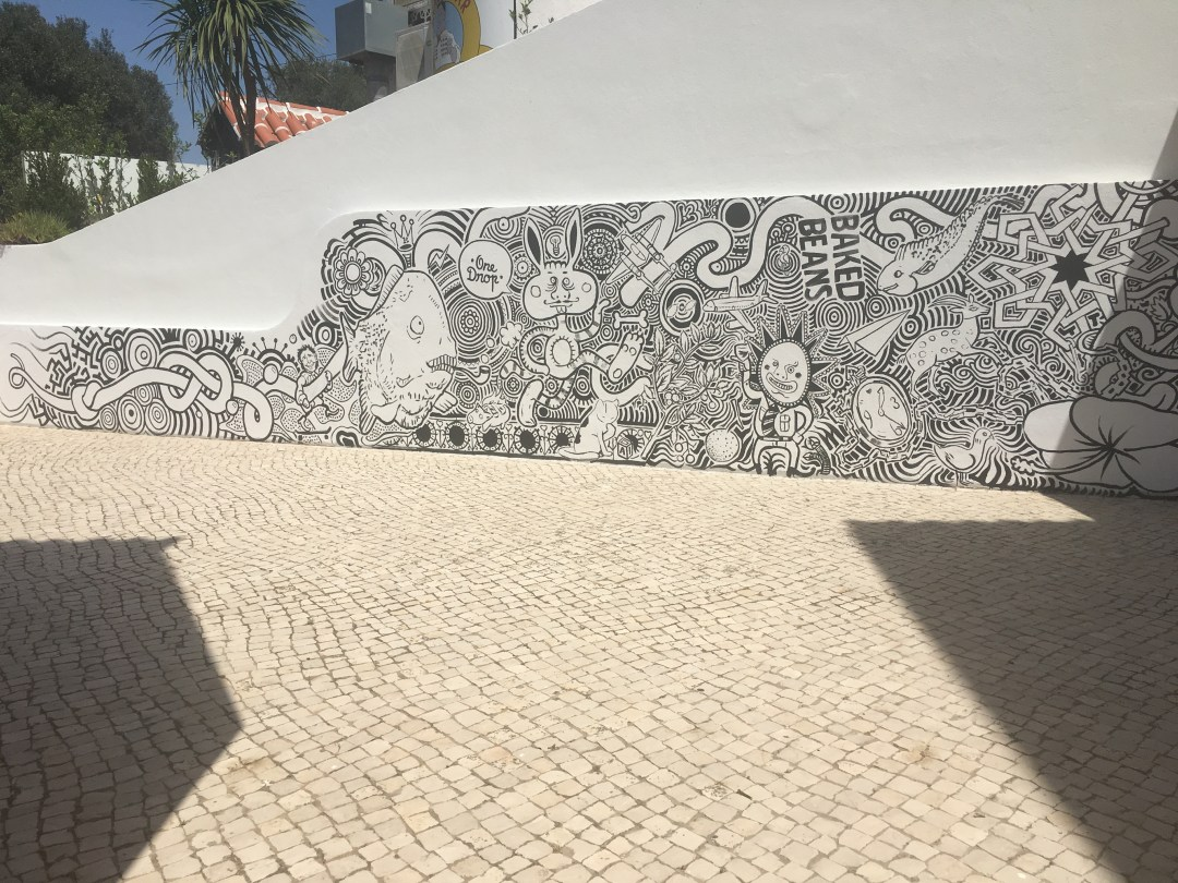 Street art at The Big Chill Hostel in Lagos, Portugal