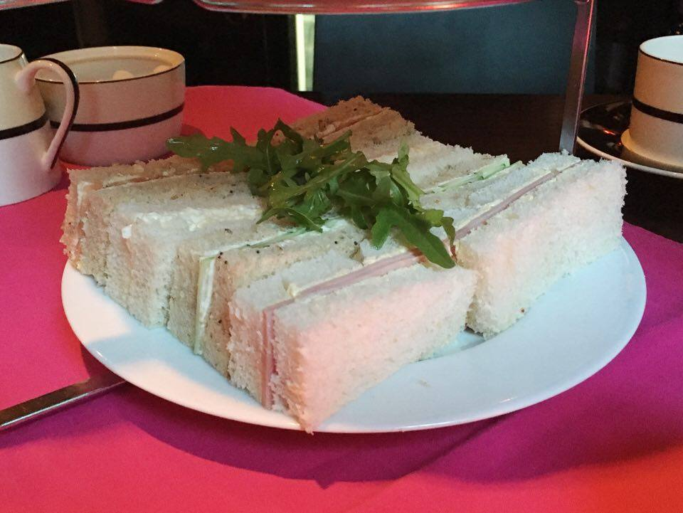 Finger sandwiches in Park Plaza Hotel Cardiff's Pink Afternoon tea