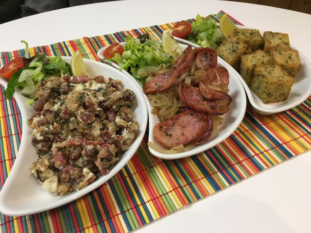 Trio of dishes at Amazonas Portuguese and Brazilian Street Food, Cardiff