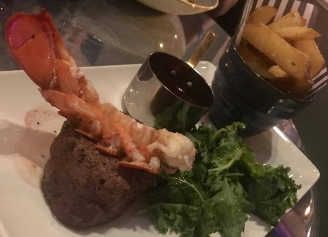 Steak with lobster tail and chunky chips - Surf n'turf