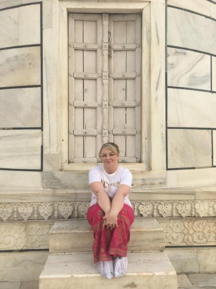 White paper boots at Taj Mahal