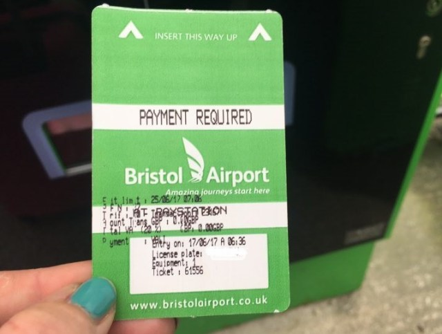 Ticket for airport parking at Bristol Airport