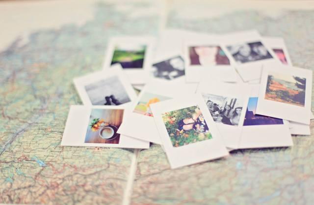 Polaroid photos and map