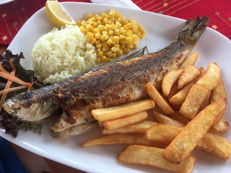 Seabass, chips and rice