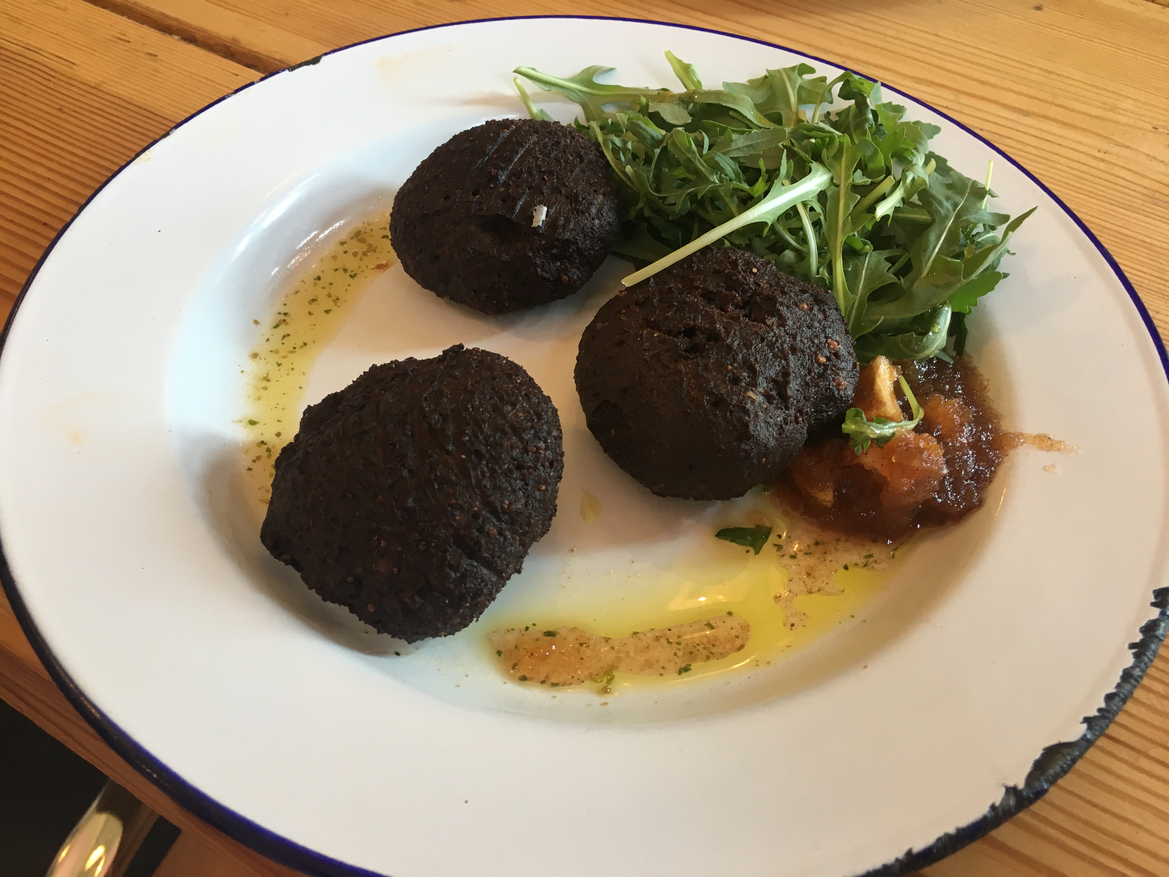 Black pudding fritters at Tiny Rebel Cardiff