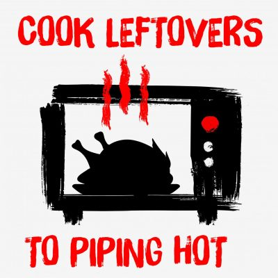 'Cook leftovers to piping hot' (with an image of a chicken in a microwave) - a tip to avoid wasting leftover chicken.