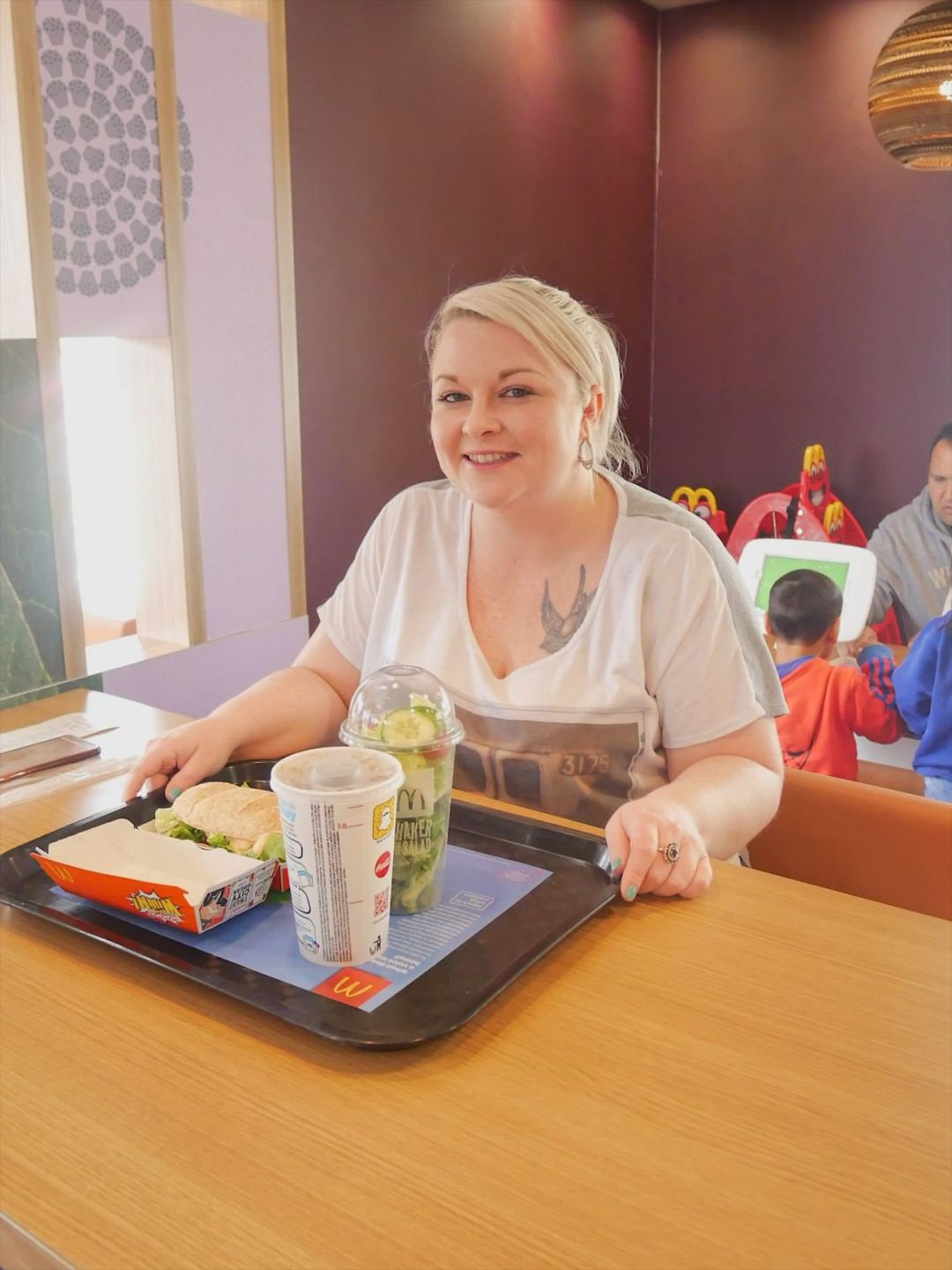 A photo of me with the first meal I ordered using McDonald's Table Service