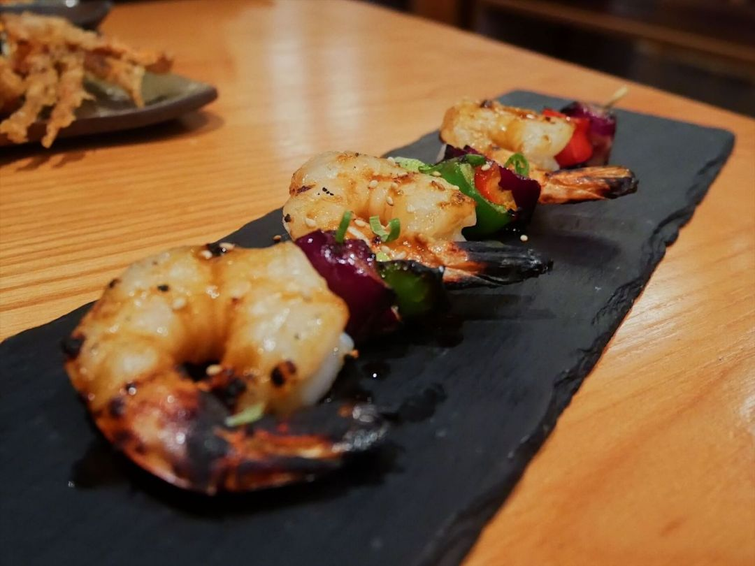 Prawn yakitori skewers at Yakitori No.1 Japanese restaurant in Cardiff