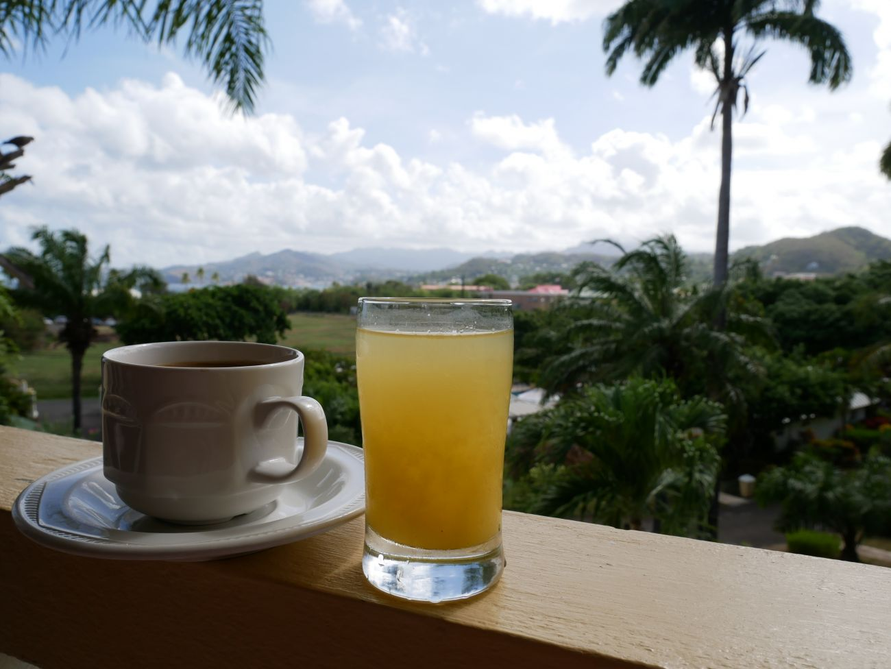 Coffee and juice with a view