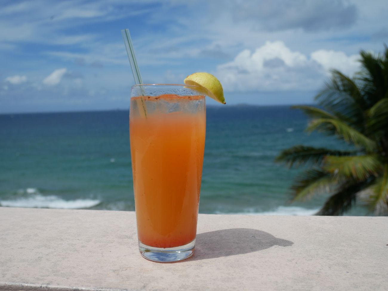 Rum punch with an ocean view