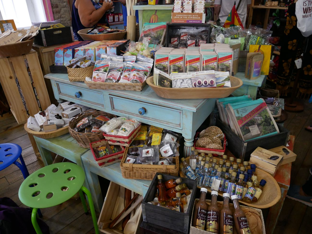 Chocolate-themed products and chocolate on display at House of Chocolate, Grenada