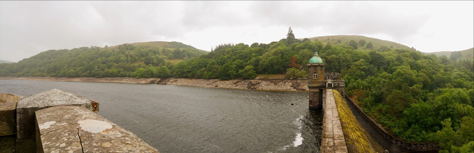 Panoramic view over the Elan Valley dams