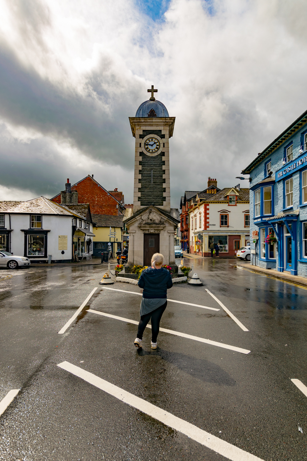 Stood in front of the clock tower in Rhayader, Mid Wales