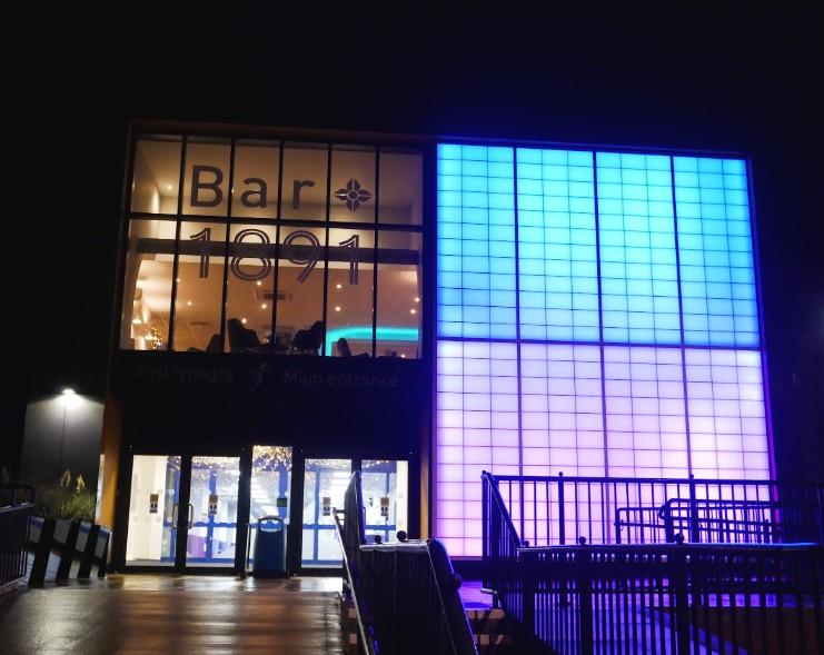 Pavilion Theatre Rhyl lit up at night