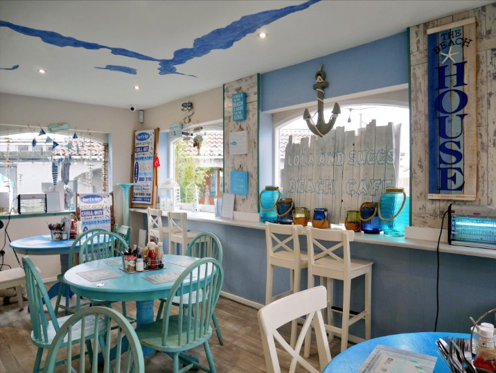 The seaside-inspired decor inside Lola and Suggs Beach Cafe