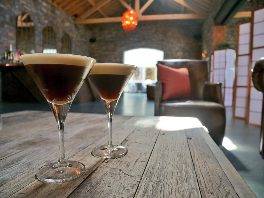 Espresso martinis in the lounge at Sosban restaurant in Llanelli, south-west Wales.