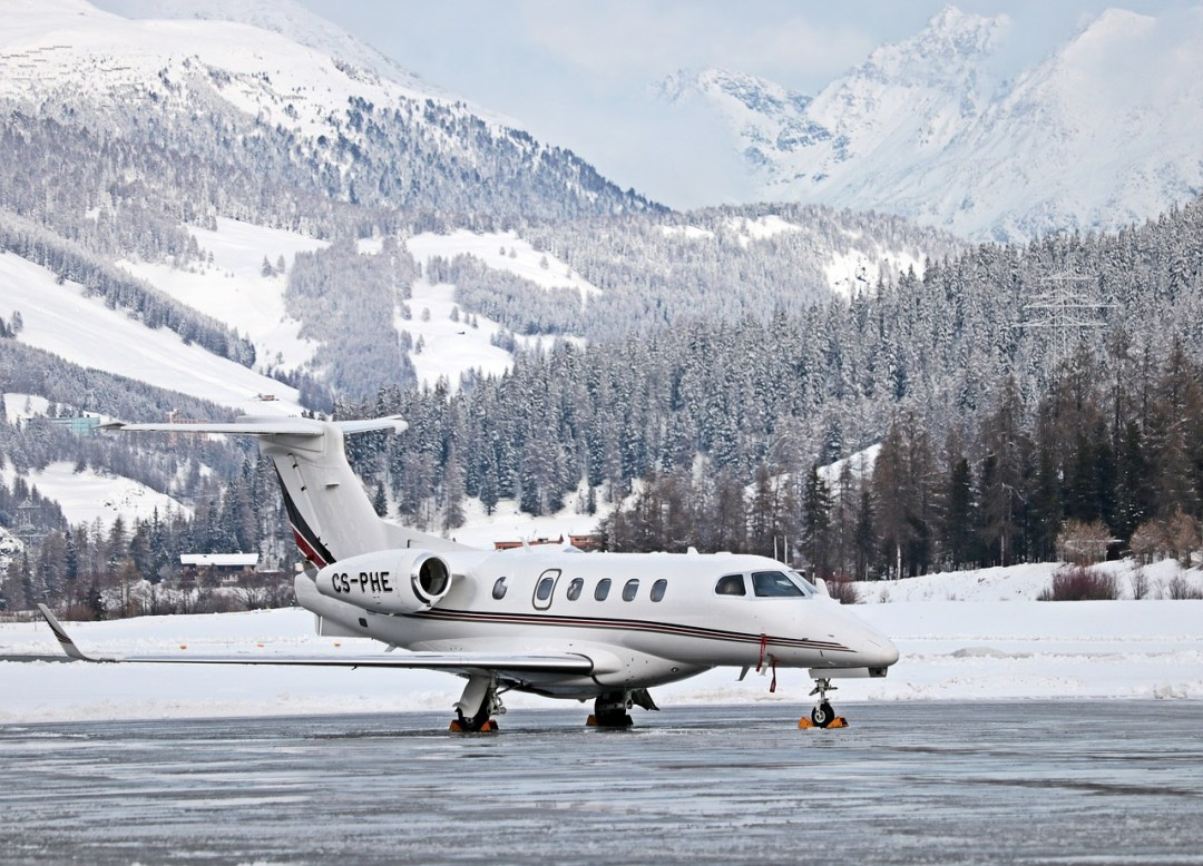 Private jet in the snow