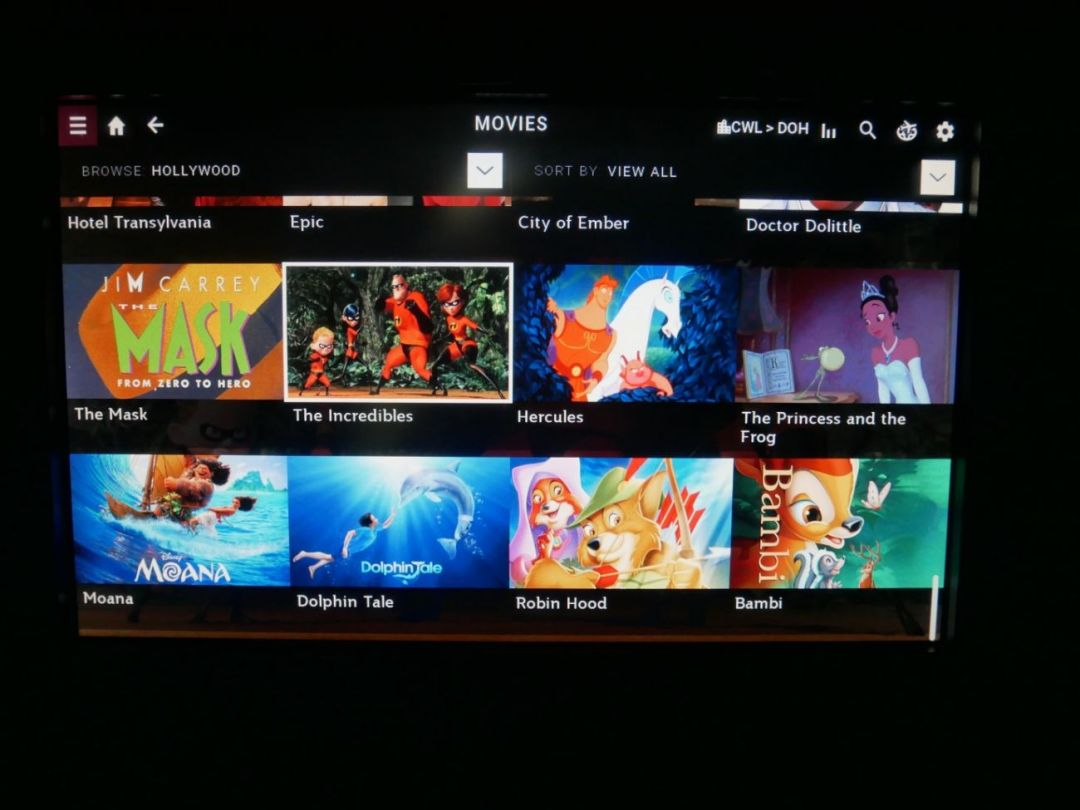 Movies available on Qatar Airways' Oryx One entertainment system