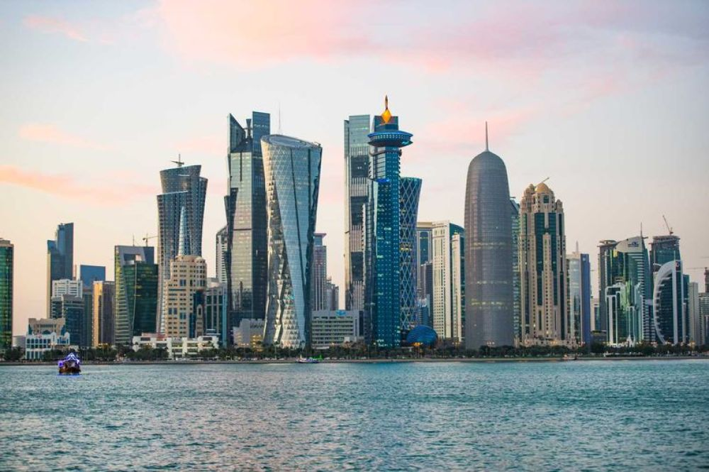 The Qatar skyline along the Corniche and West Bay business district