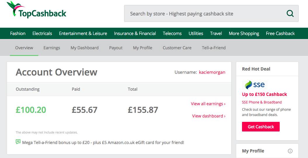 Sign-up for Top Cashback as a way to save money for travel!
