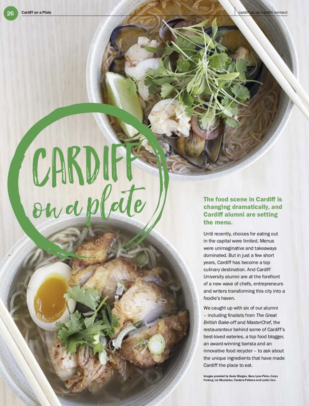 'Cardiff on a Plate': a feature published in Cardiff University's alumni magazine, Cardiff Connect in December 2018.