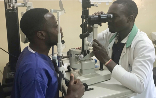 Eye examination at Embangweni Hospital