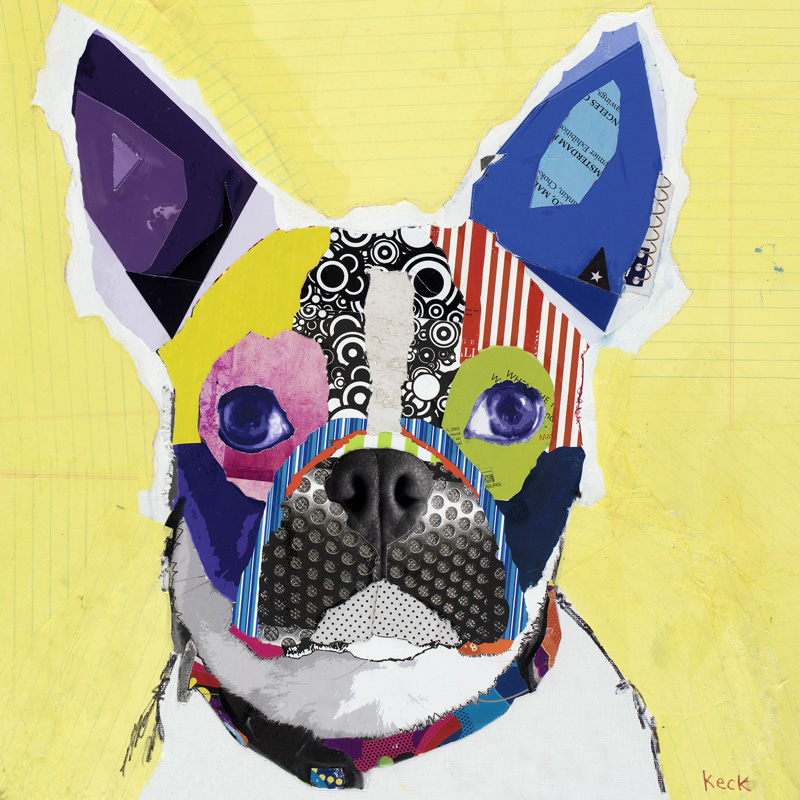 dog art boston terrier pop art collage