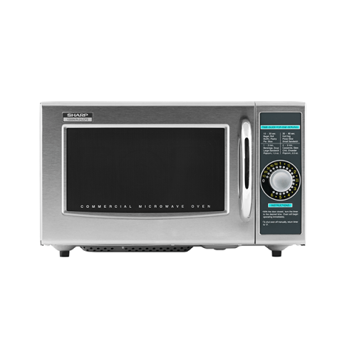 sharp r 21lcf stainless steel commercial microwave oven with dial control 1000w 120v