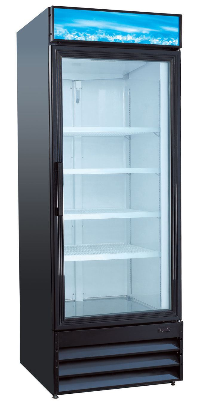 UStar USRFS1DB 1 Door Glass Merchandising Refrigerator  Black Restaurant Equipment and