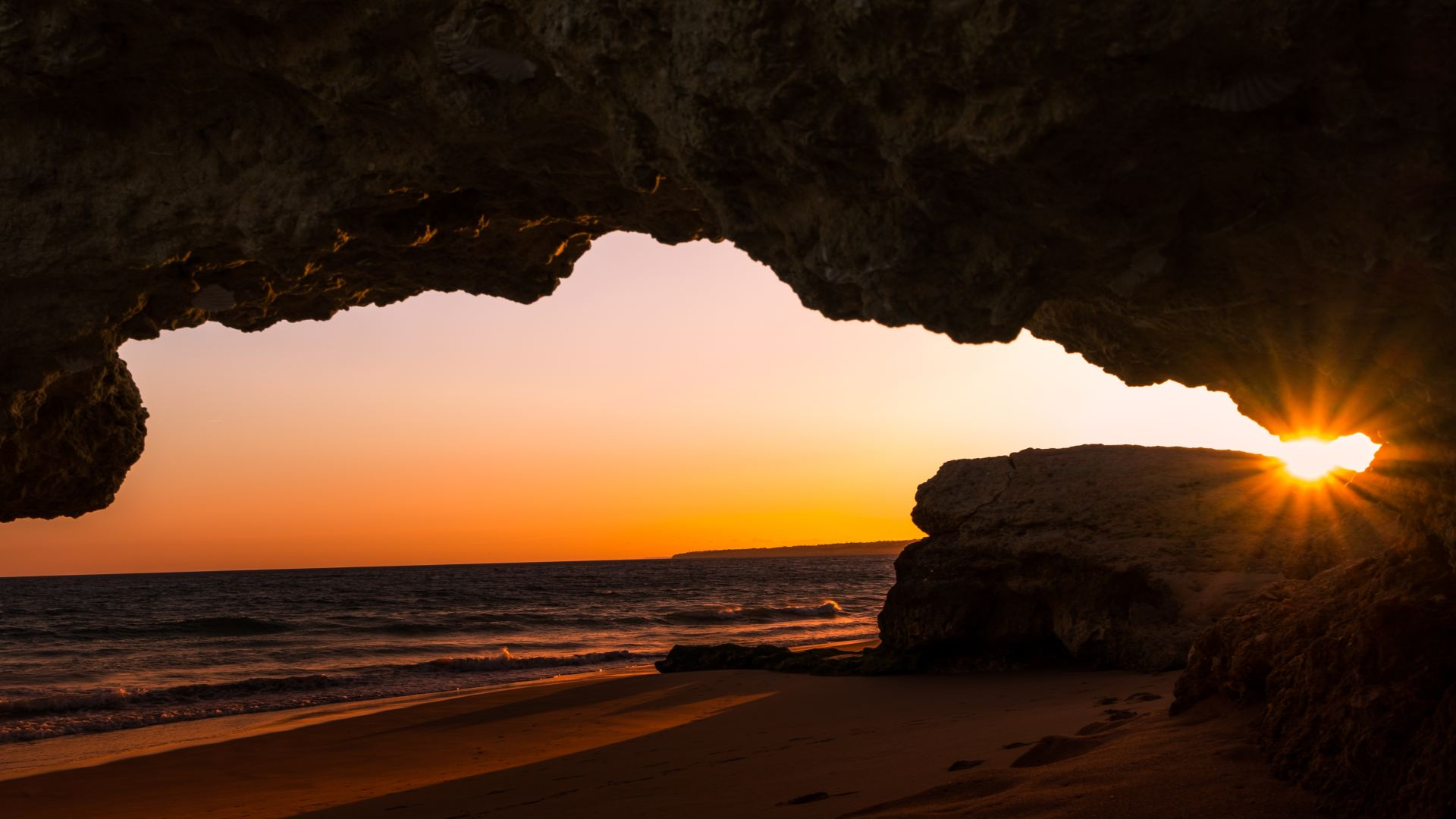 sunset on the beach on the algarve in Winter