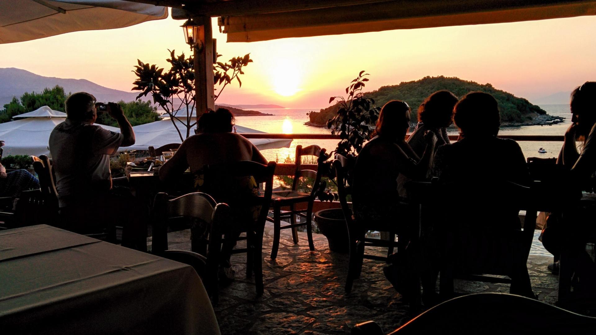 cafe overlooking sunset on the beach