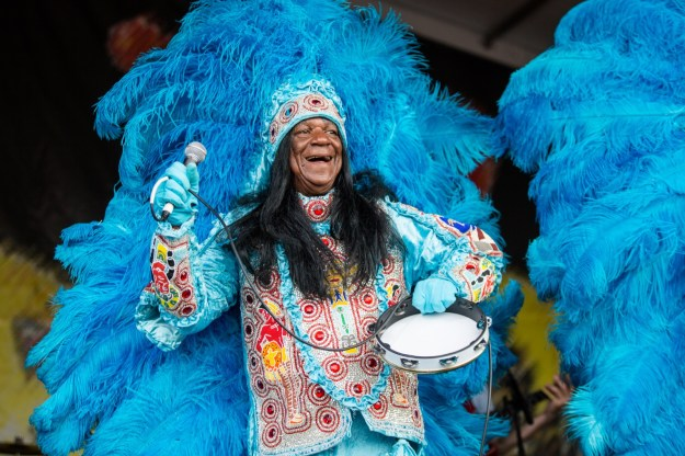 NEW ORLEANS, LA - APRIL 24: Big Chief Monk Boudreaux performs at the New Orleans Jazz & Heritage Festival at Fair Grounds Race Course on April 24, 2016 in New Orleans, Louisiana. (Photo by Josh Brasted/WireImage)