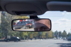 Mirror, rearview, eyes, man, driver, car, rearview mirror, Kutsaev