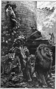 """""""Daniel Cast to the Lions"""" from """"The Bible and its Story"""" published in 1908. Public domain"""
