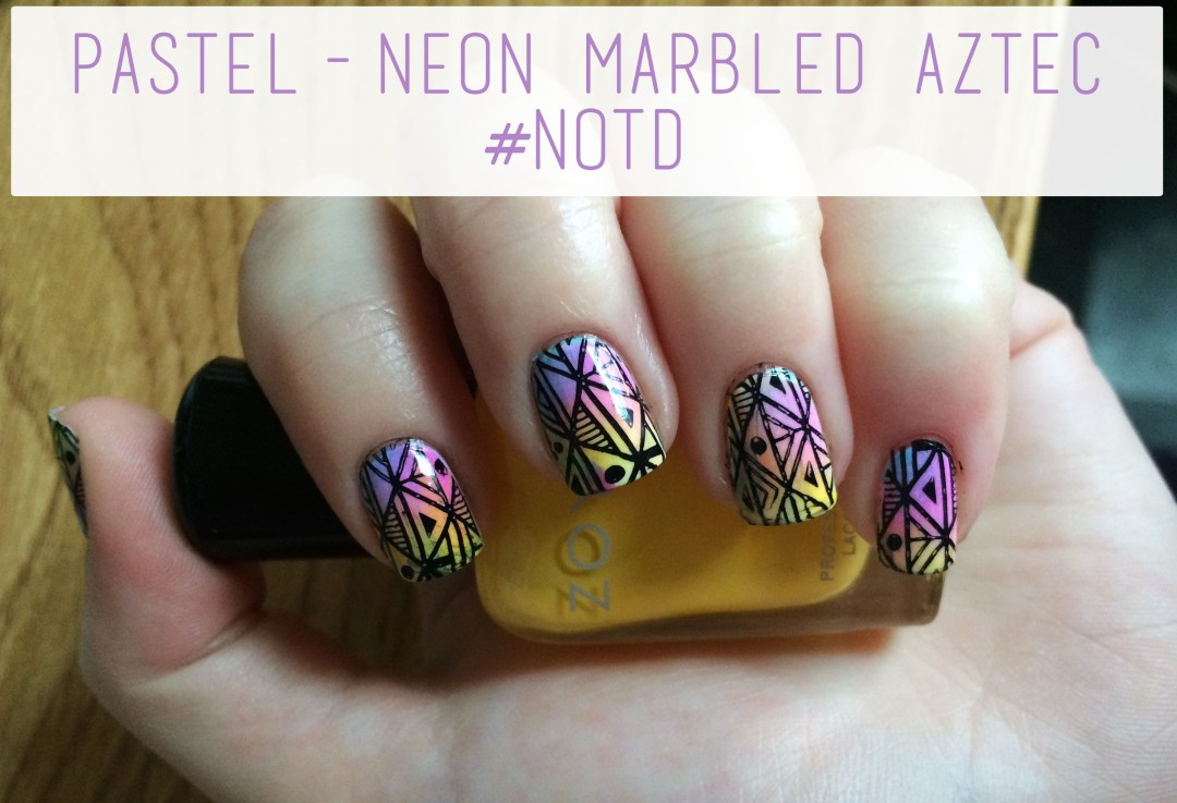 Pastel-Neon Marbled Aztec #NOTD Overview | The Rebel Planner