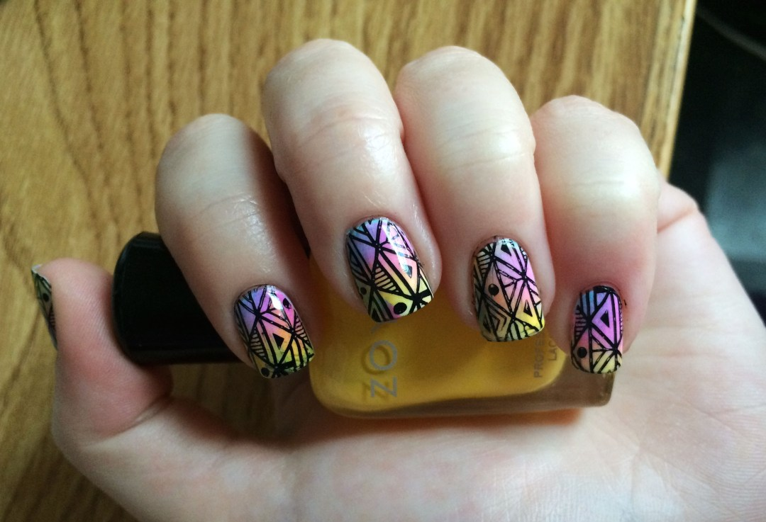Pastel-Neon Marbled Aztec #NOTD | The Rebel Planner